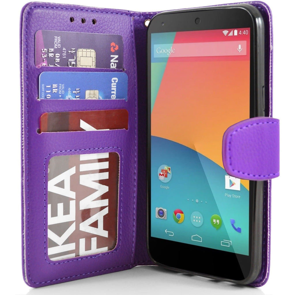 LG Nexus 5 PU Leather Wallet Case - Purple