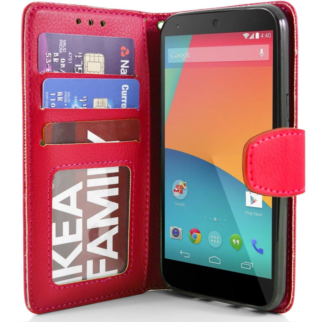 LG Nexus 5 PU Leather Wallet Case - Red