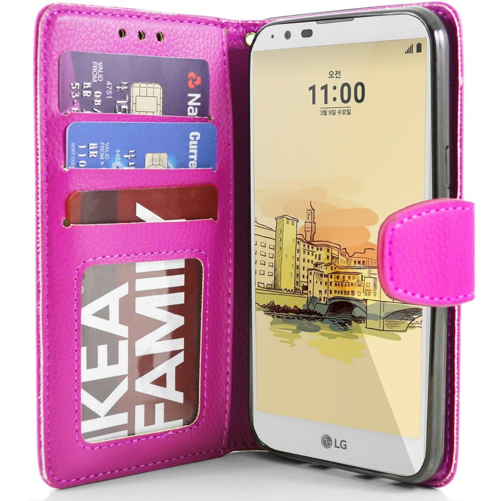LG Stylus 2 PU Leather Wallet Case - Pink