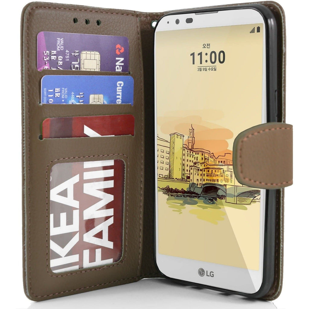 LG Stylus 2 PU Leather Wallet Case - Brown
