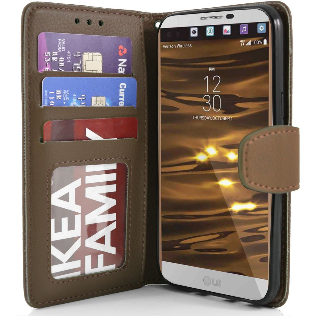 LG V10 PU Leather Wallet Case - Brown