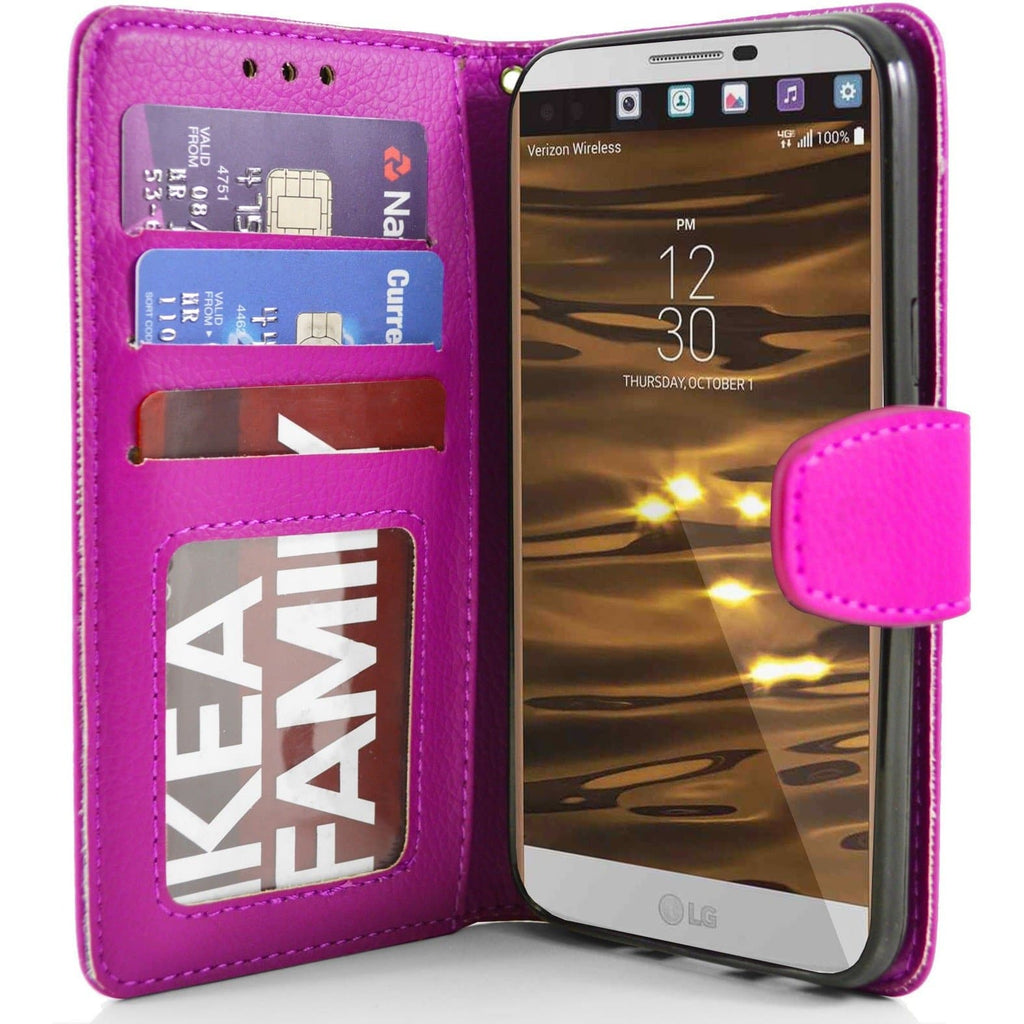 LG V10 PU Leather Wallet Case - Pink