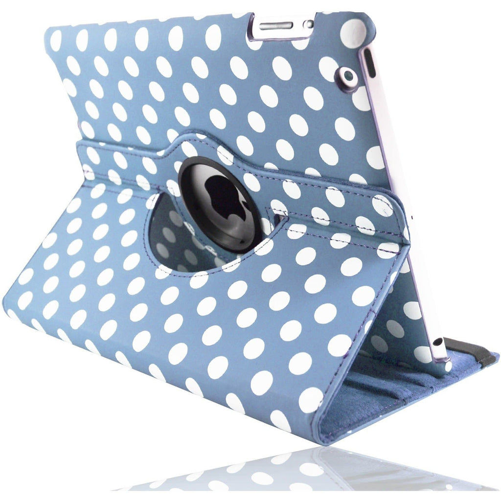 iPad Air - Polka Dot Pu Book Leather Flip Stand Case - Blue