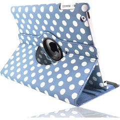Apple iPad 2 / 3 / 4 - Polka Dot Pu Leather Book Flip Stand Case - Light Blue