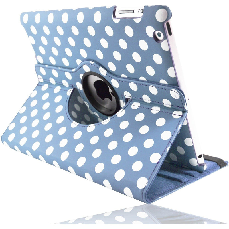 "iPad Pro 9.7"" - Polka Dot Pu Leather Case Stand - Blue"