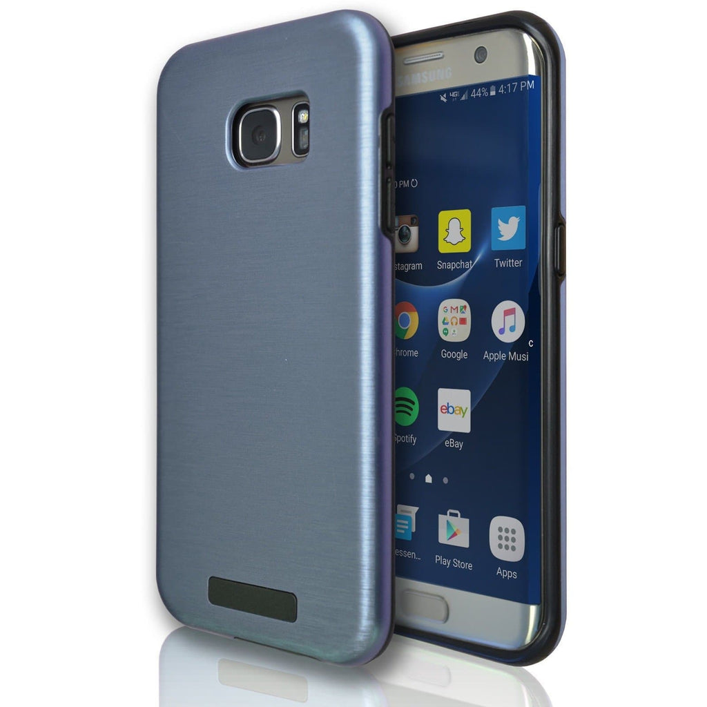 Samsung Galaxy S6 Edge Protective Brushed Silicone Case - Light Blue