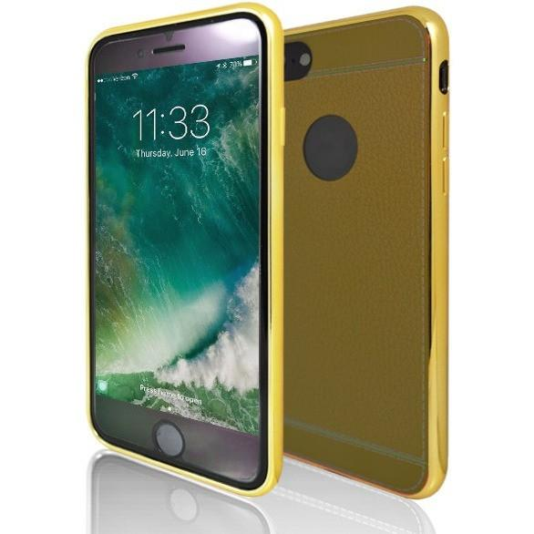 iPhone 8 Case- Protective Leather Look Silicone Case With Bumper Yellow & Light Brown