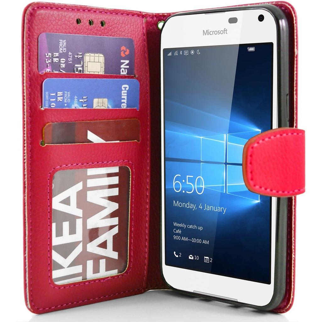 Microsoft Lumia 650 PU Leather Wallet Case - Red