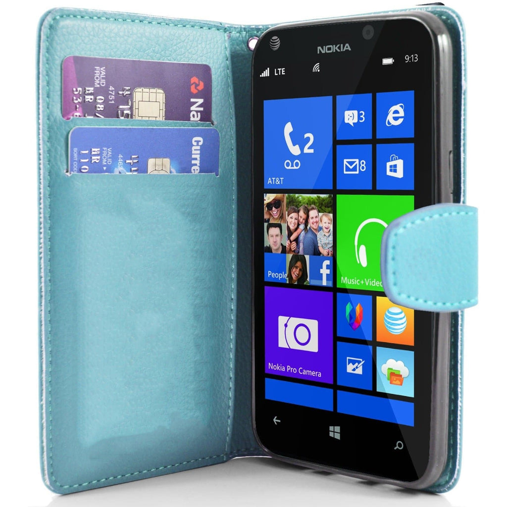 Baby Blue Nokia Lumia 925 PU Leather Wallet Case
