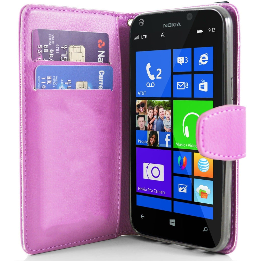 Baby Pink Pu Flip Wallet Leather Case For Nokia Lumia 925