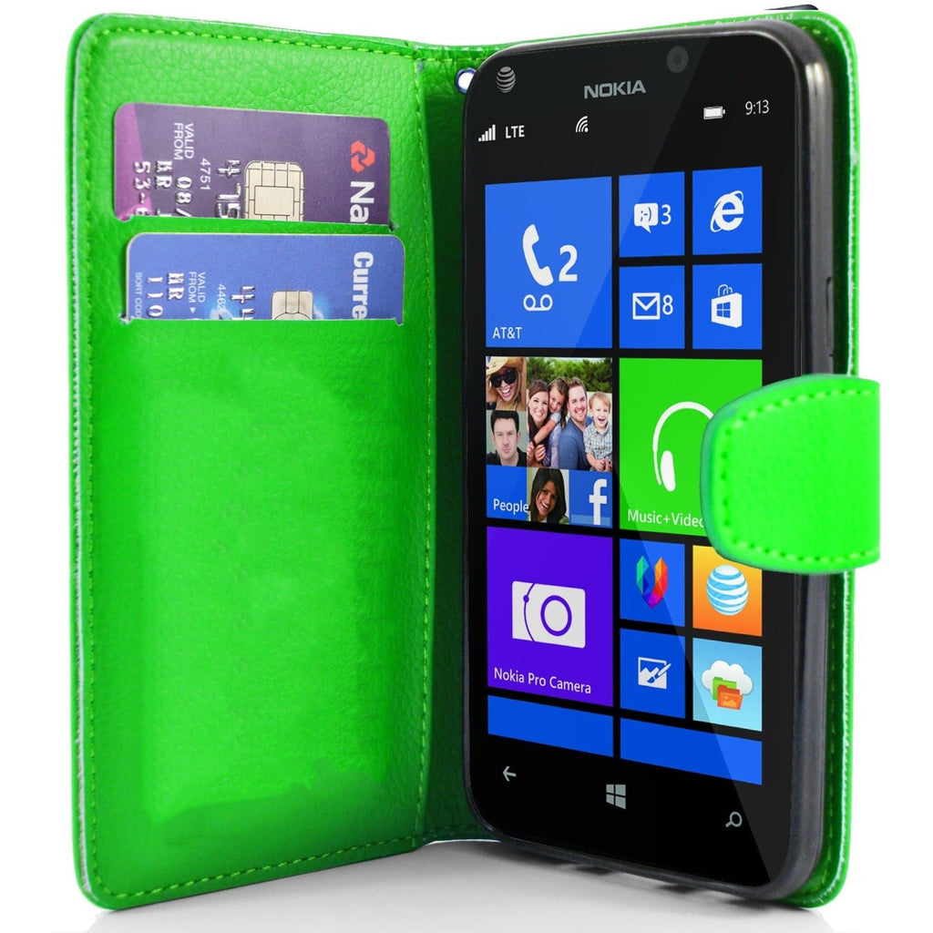Green Pu Flip Wallet Leather Case For Nokia Lumia 925