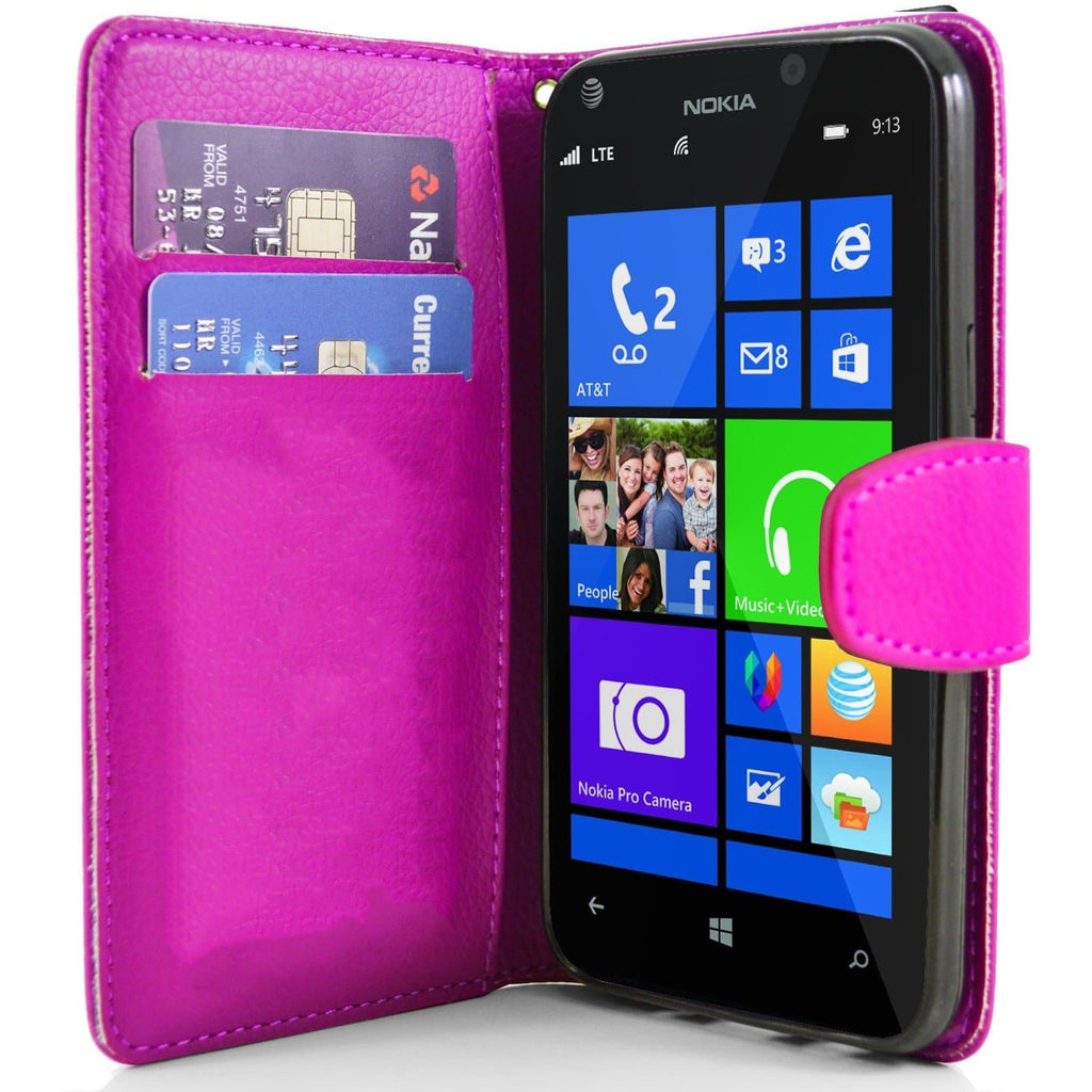 Pink Nokia Lumia 925 PU Leather Wallet Case