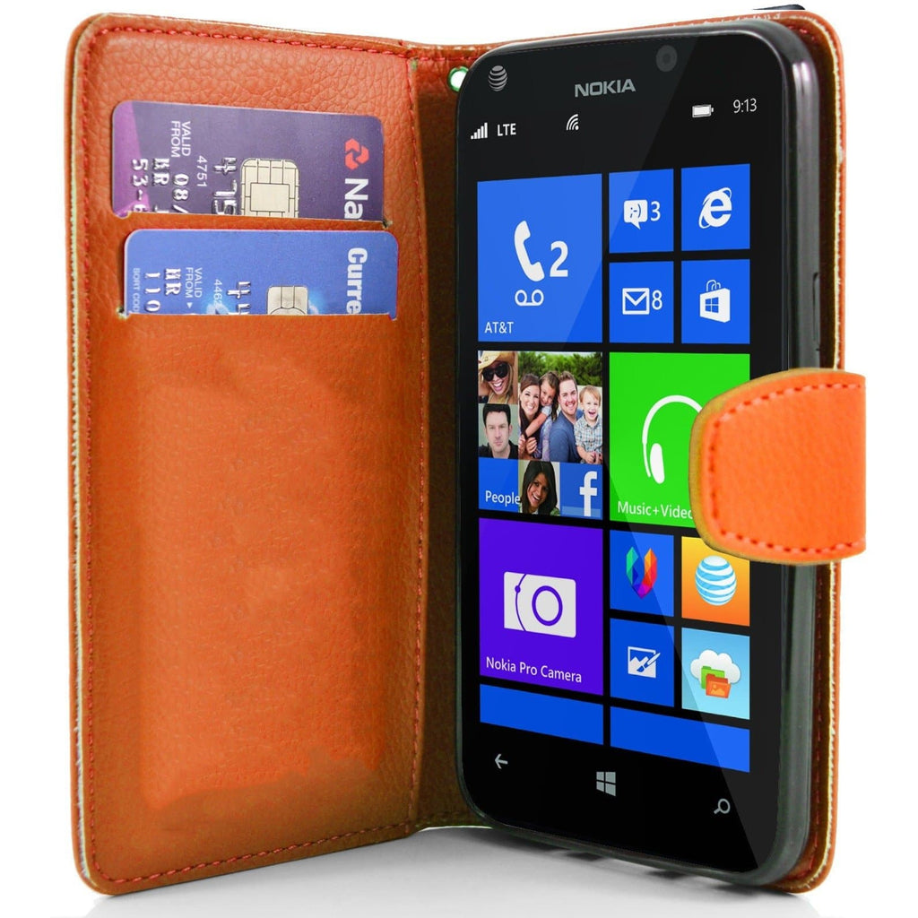 Orange Nokia Lumia 925 PU Leather Wallet Case