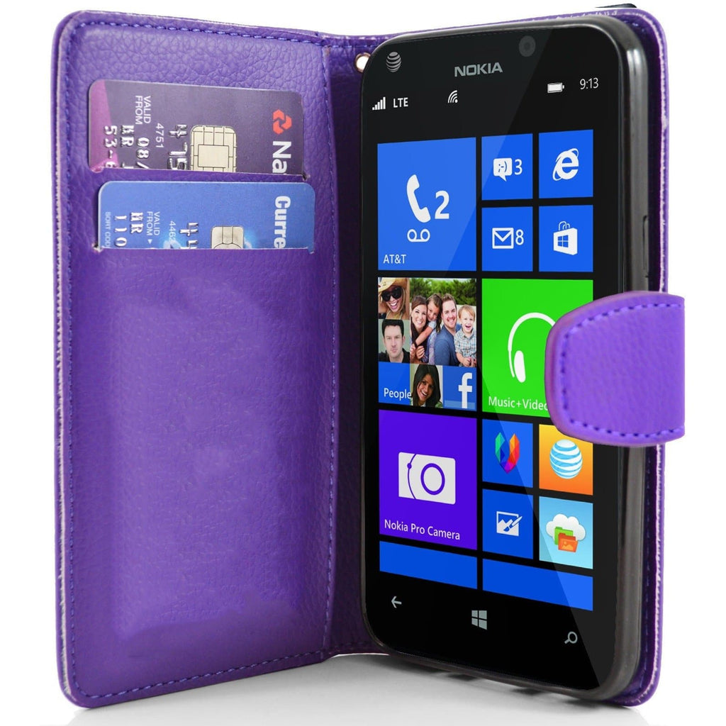 Purple Nokia Lumia 925 PU Leather Wallet Case