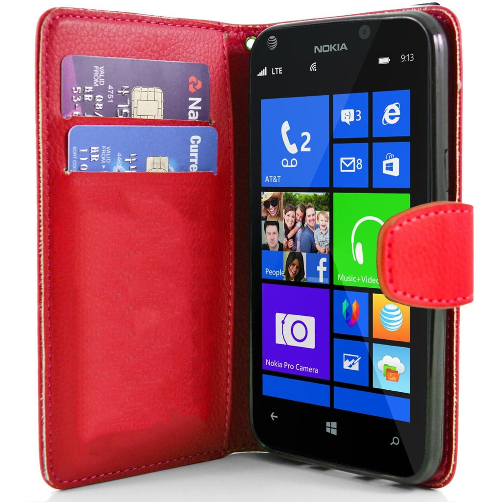 Red Nokia Lumia 925 PU Leather Wallet Case