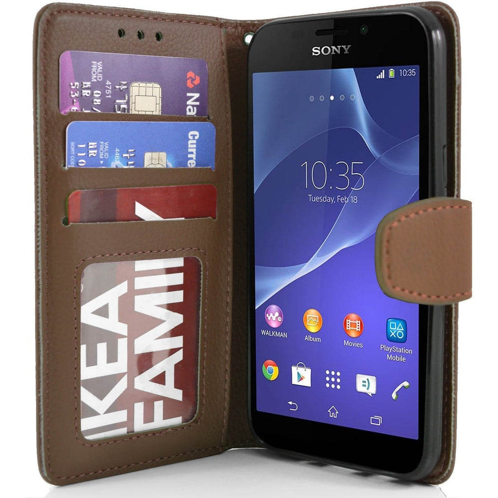 Sony Xperia M2 PU Leather Wallet Case - Brown