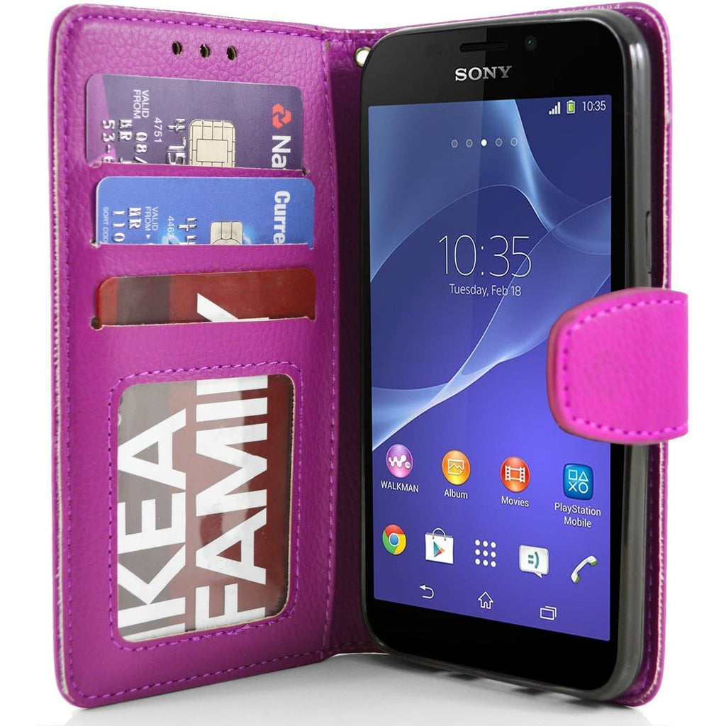 Sony Xperia M2 PU Leather Wallet Case - Pink