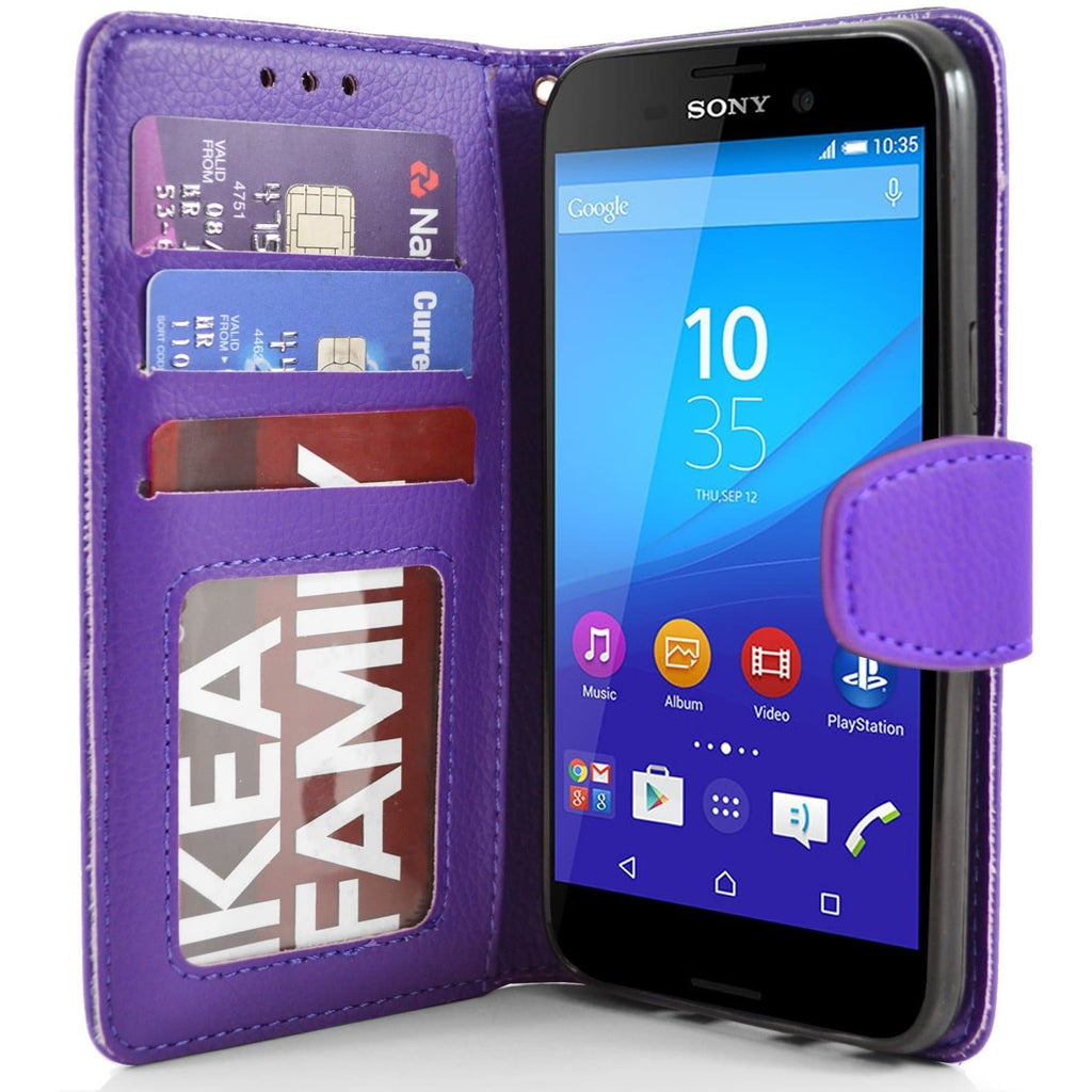 Sony Xperia M4 Aqua PU Leather Wallet Case - Purple