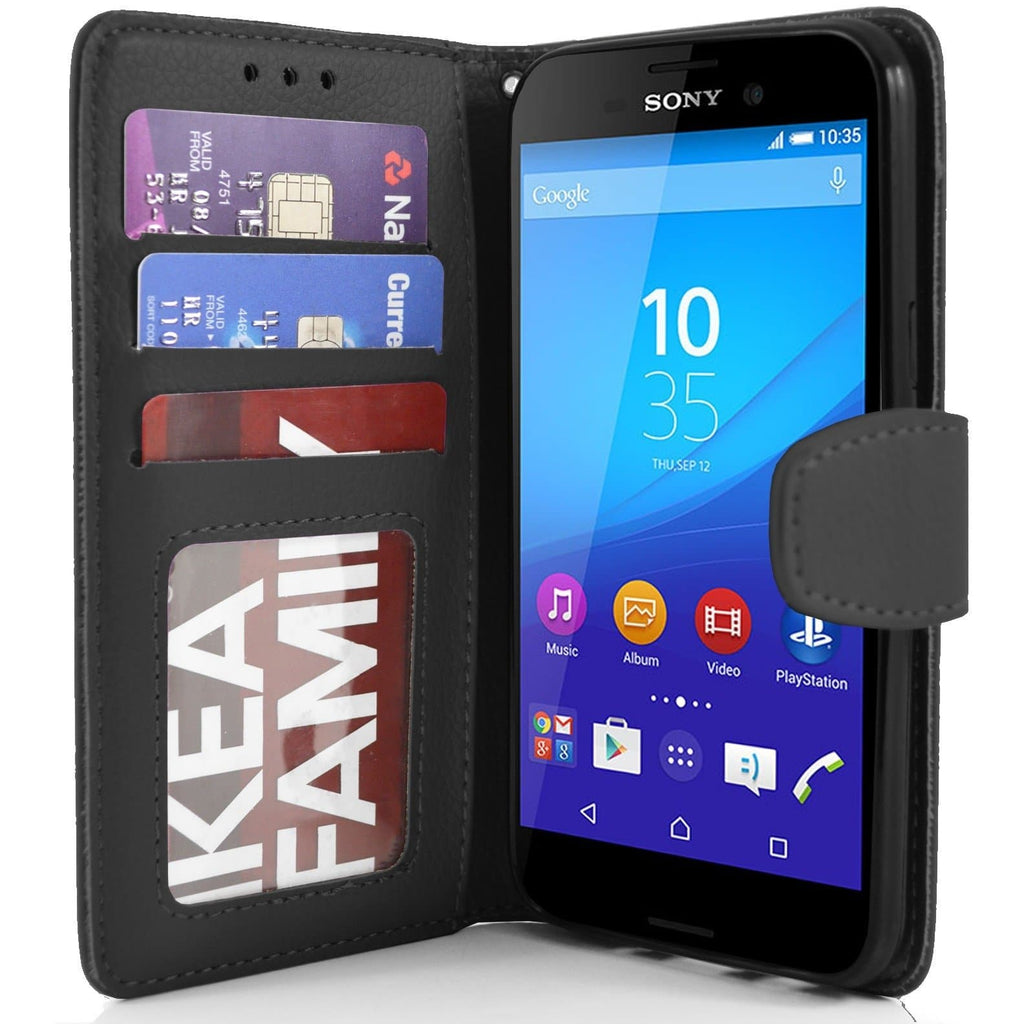 Sony Xperia M4 Aqua PU Leather Wallet Case - Black