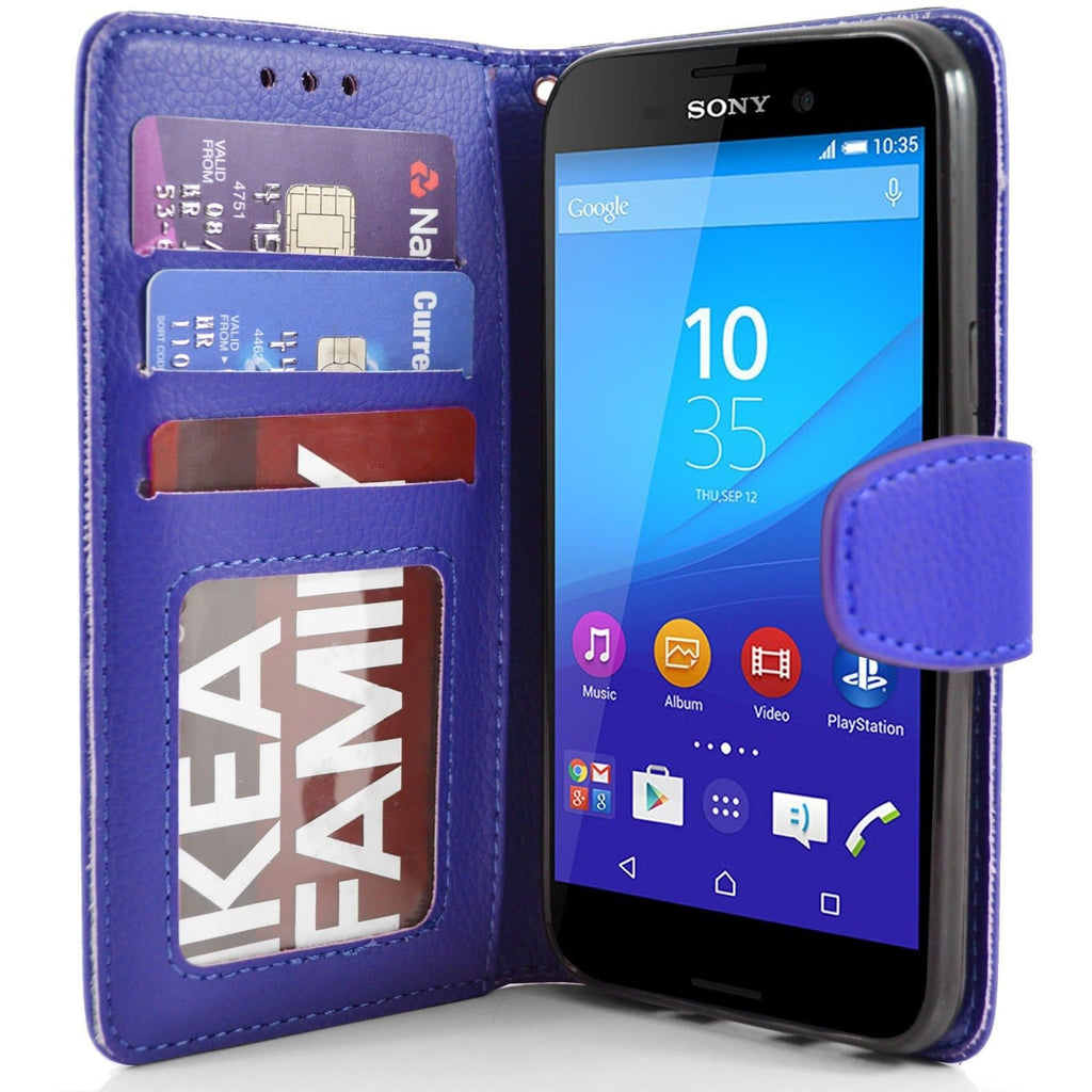 Sony Xperia M4 Aqua PU Leather Wallet Case - Blue