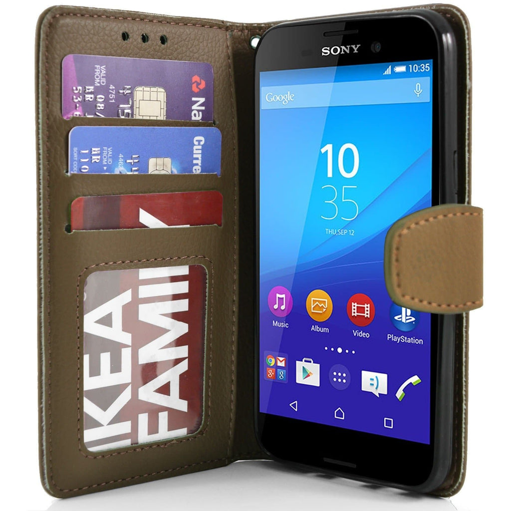 Sony Xperia M4 Aqua PU Leather Wallet Case - Brown