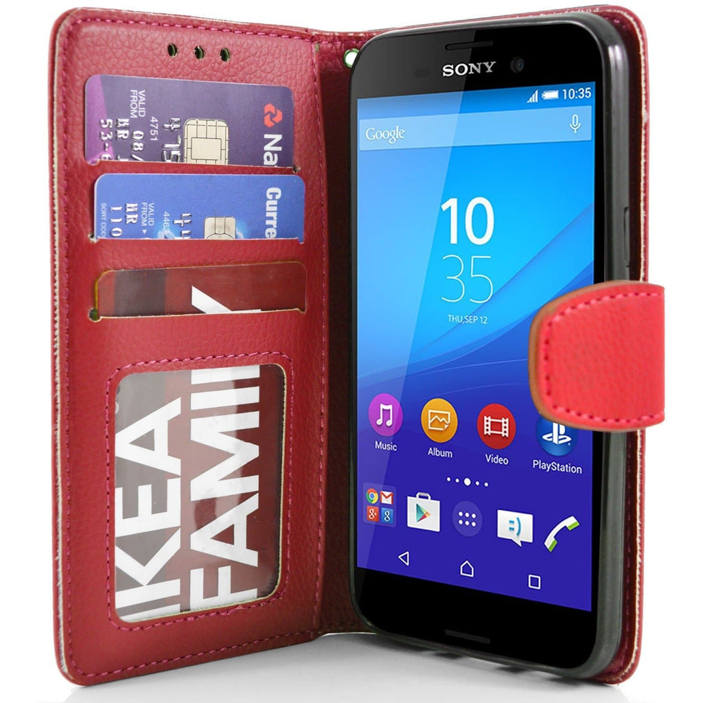 Sony Xperia M4 Aqua PU Leather Wallet Case - Red