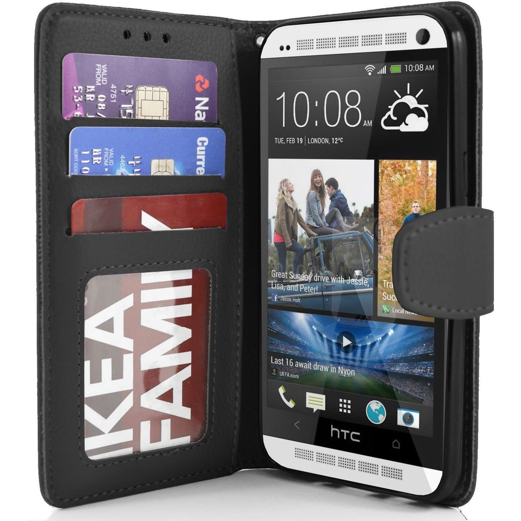HTC One M7 PU Leather Wallet Case - Black
