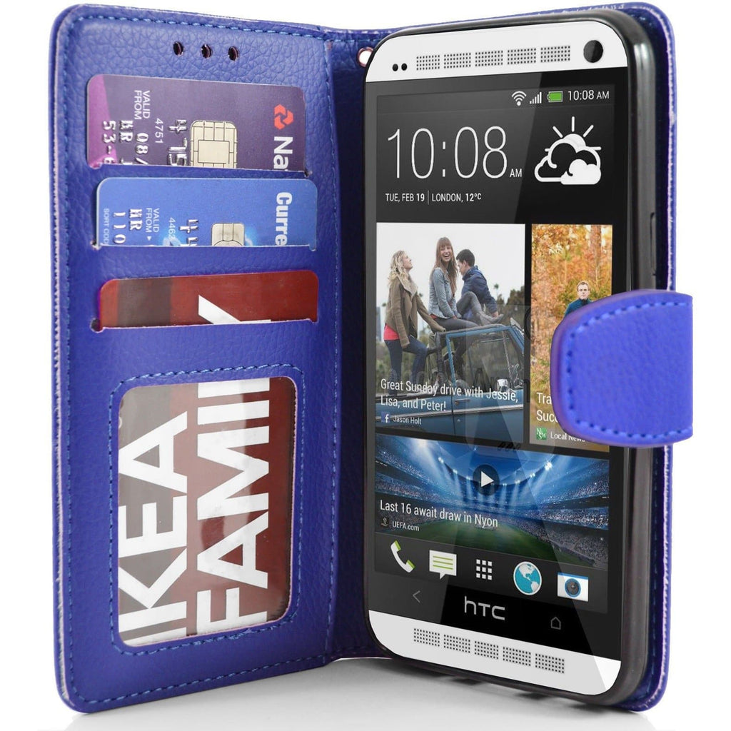 HTC One M7 PU Leather Wallet Case - Blue