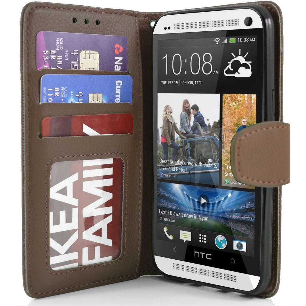 HTC One M7 PU Leather Wallet Case - Brown