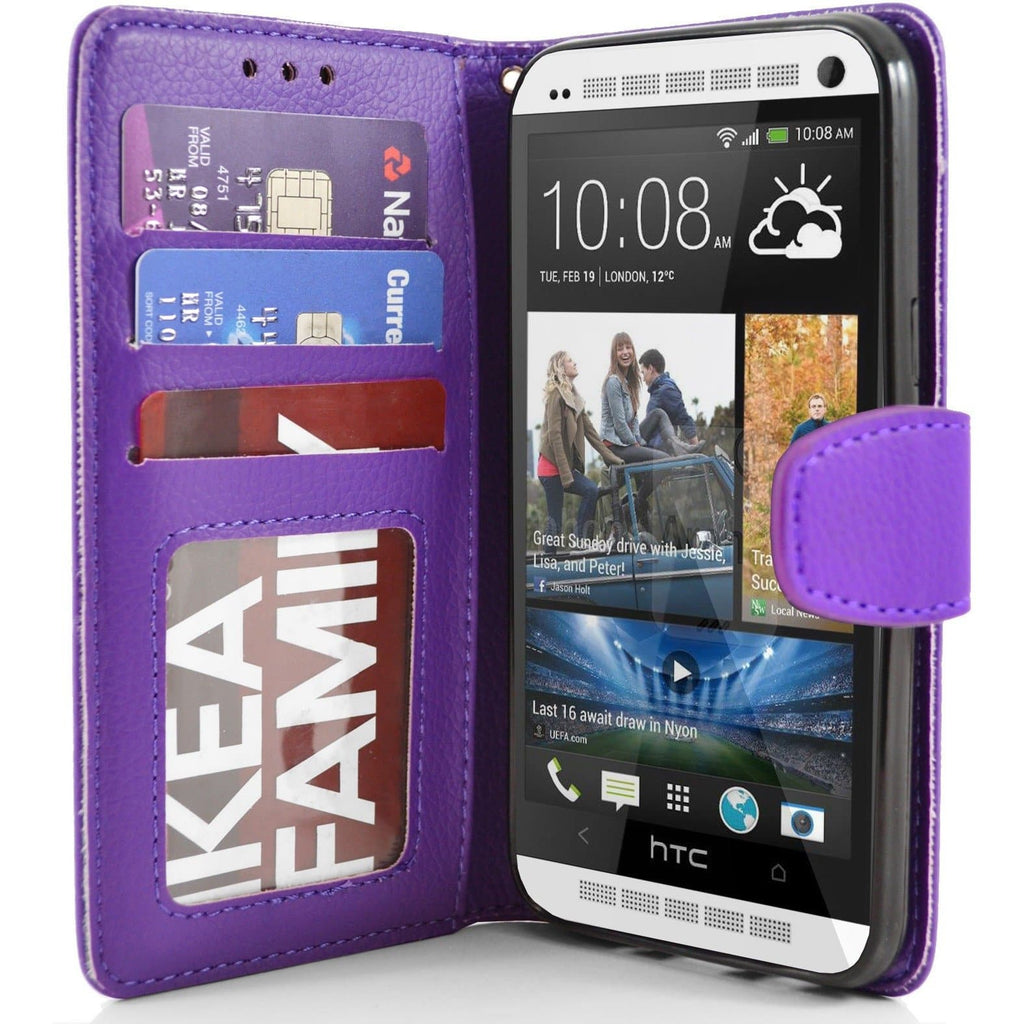 HTC One M7 PU Leather Wallet Case - Purple