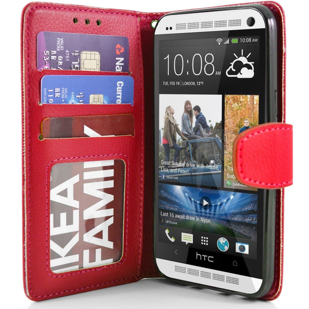 HTC One M7 PU Leather Wallet Case - Red