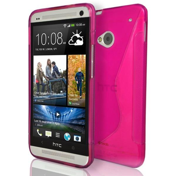 HTC One M7 - Pink S Line Gel Silicone Case