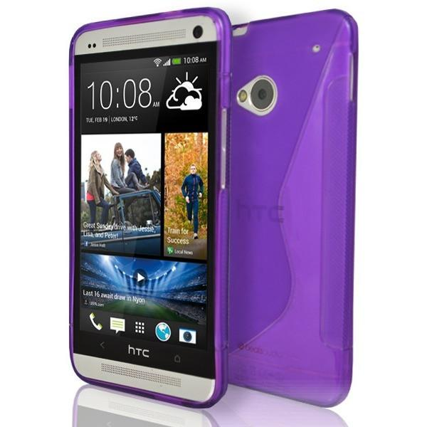 HTC One M7 - Purple S Line Gel Silicone Case