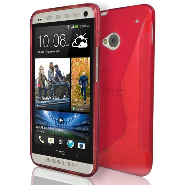 HTC One M7 - Red S Line Gel Silicone Case