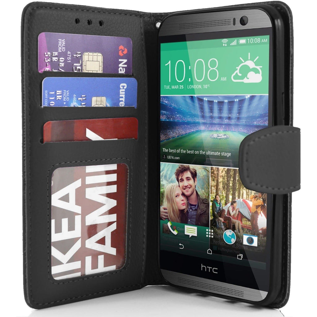 HTC One M8 PU Leather Wallet Case - Black