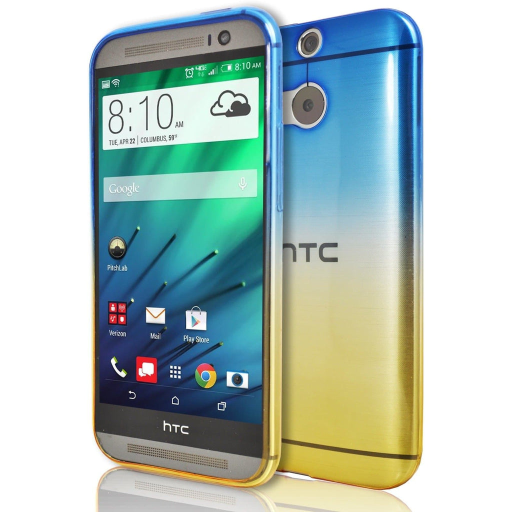 HTC One M9 - Luxury Fade TPU Silicone Case - Blue Yellow