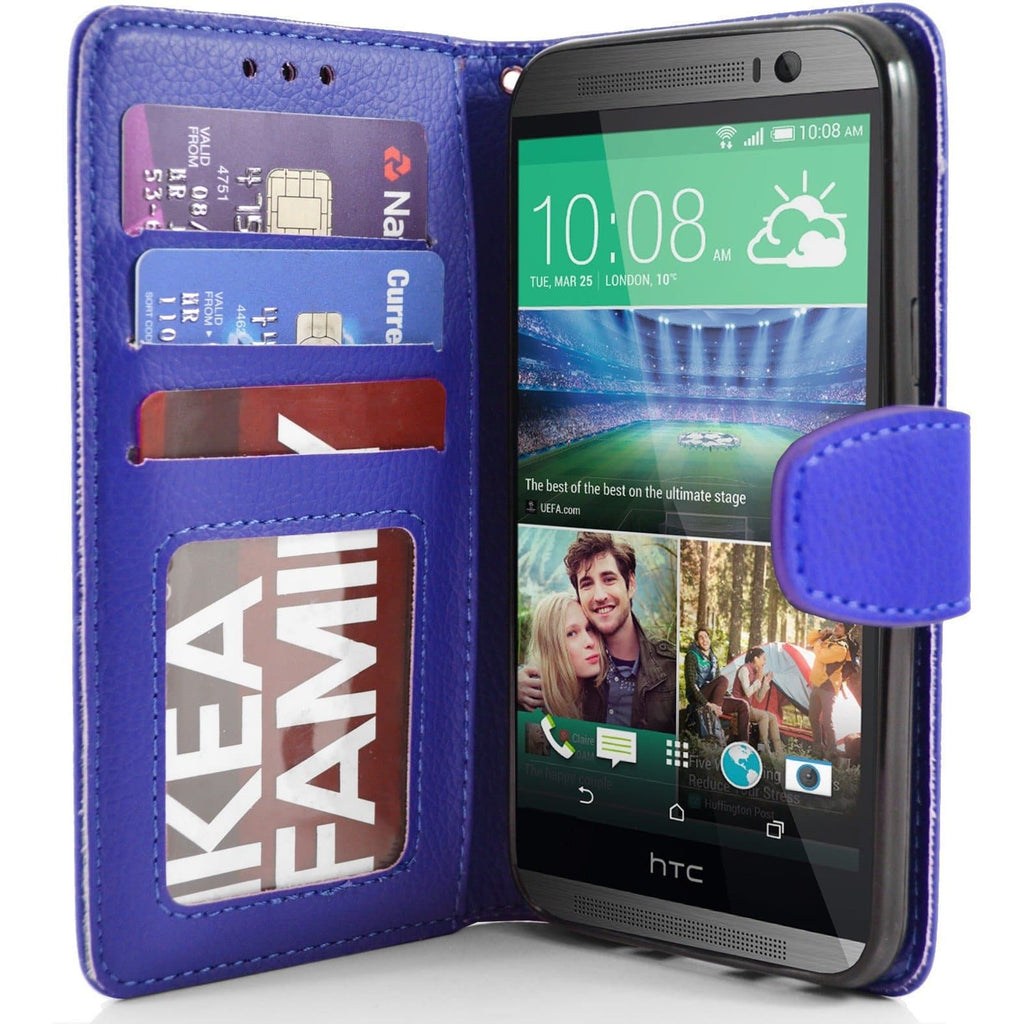HTC One M8 - PU Leather Wallet Case - Blue