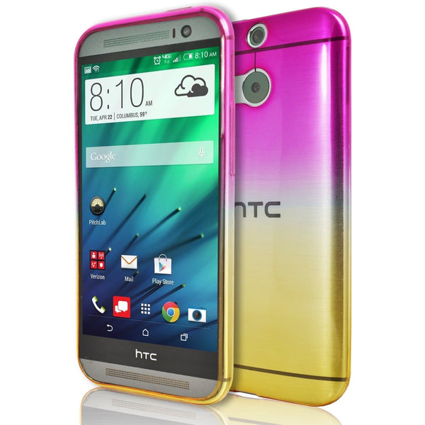 HTC Desire 728 - Luxury Fade TPU Silicone Case - Pink Yellow