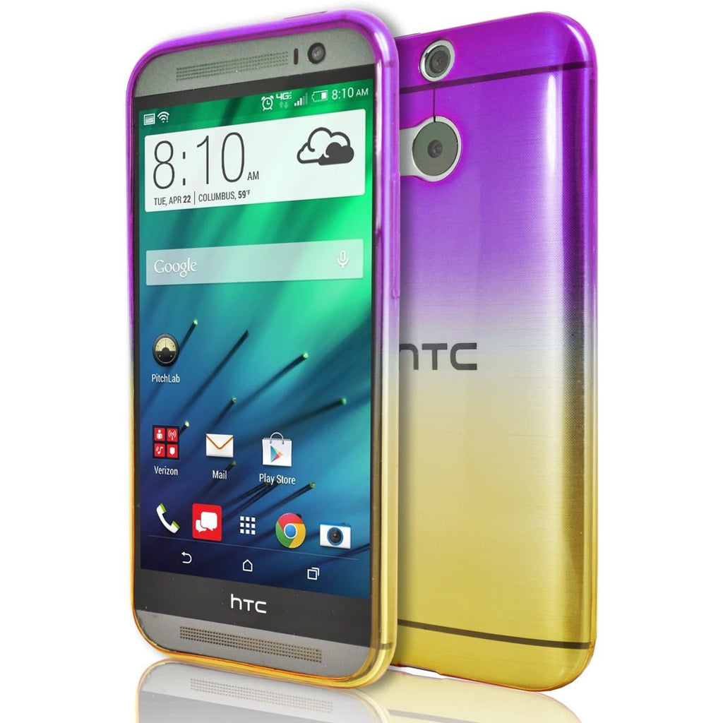 HTC One M8 - Luxury Fade TPU Silicone Case - Purple Yellow