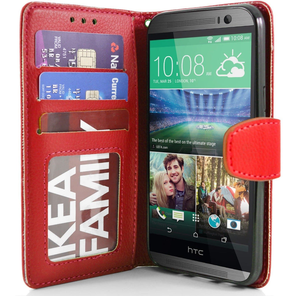 HTC One M8 PU Leather Wallet Case - Red