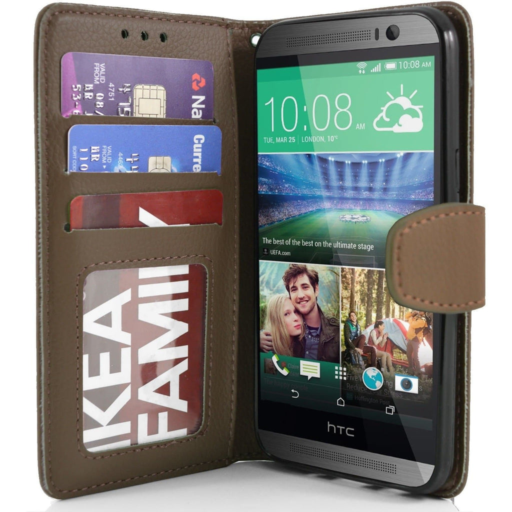 HTC One M8 PU Leather Wallet Case - Brown