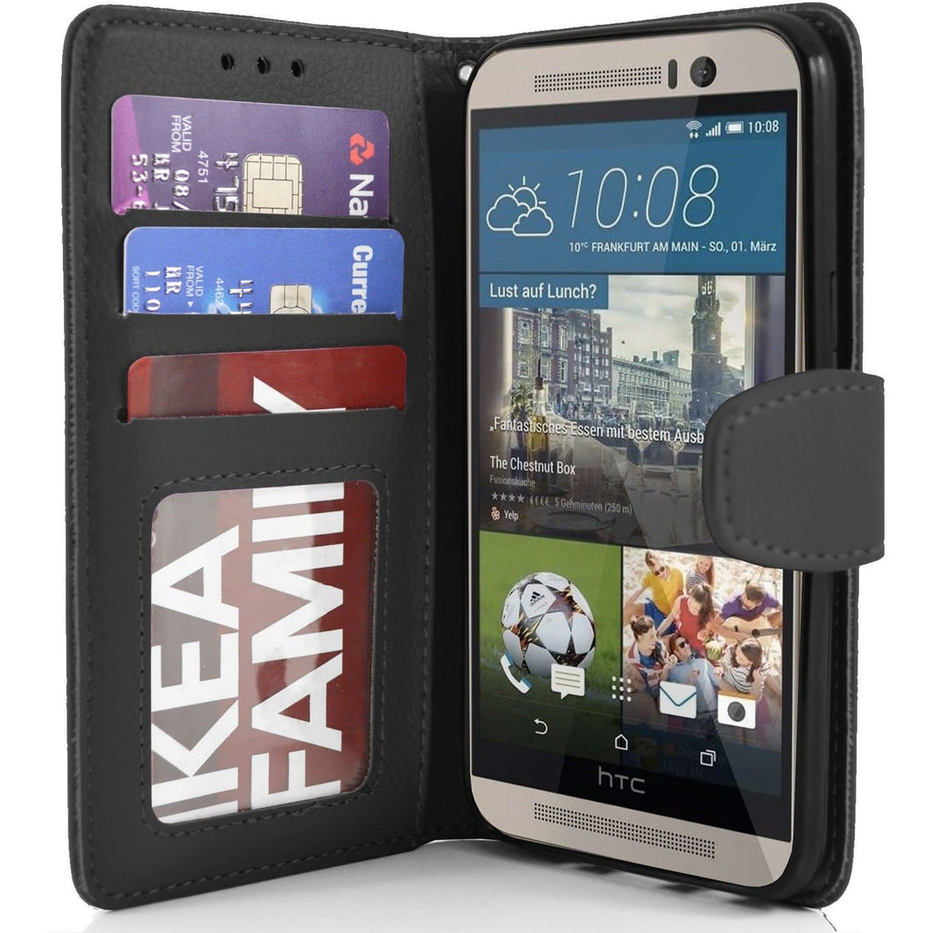 HTC One M9 PU Leather Wallet Case - Black