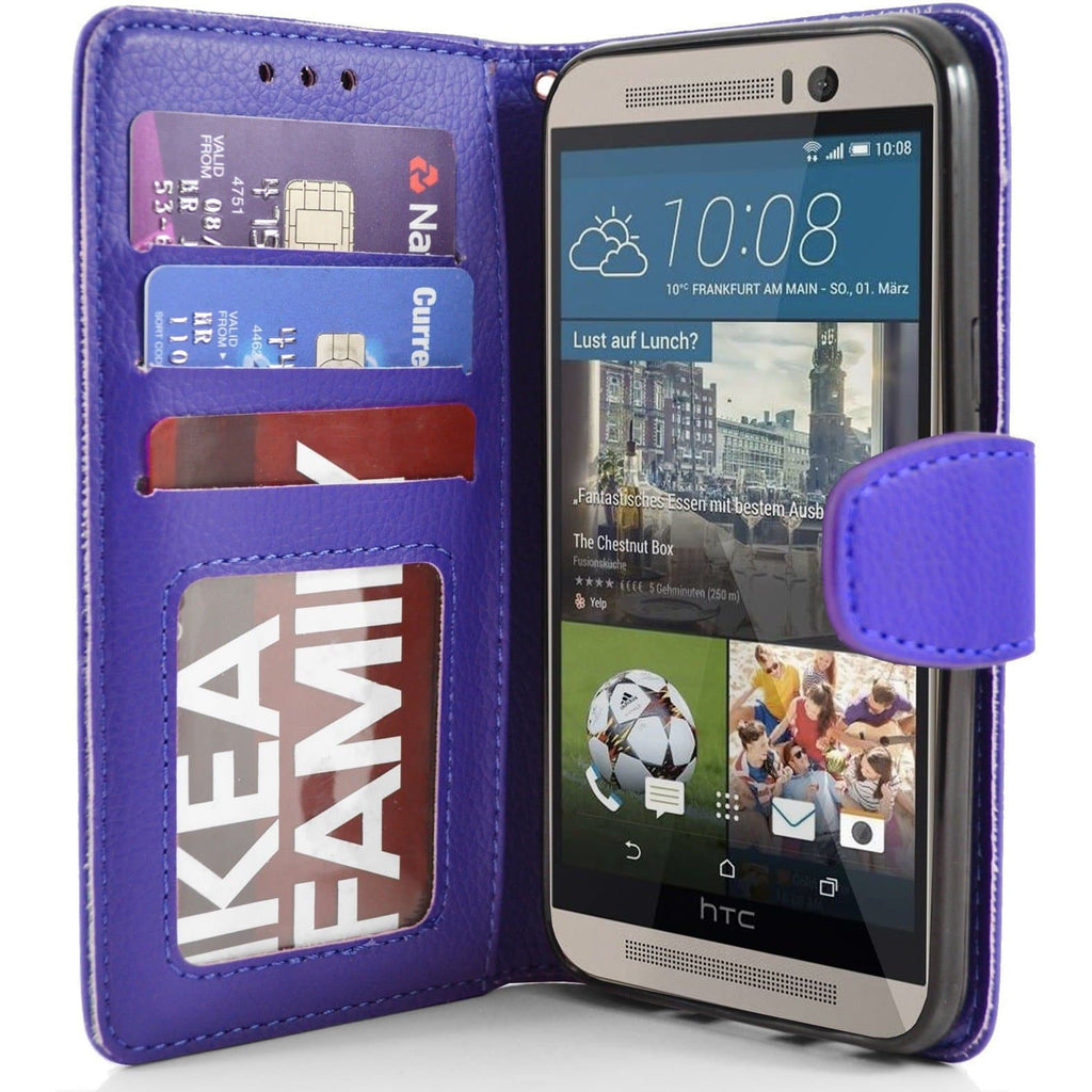 HTC One M9 - PU Leather Wallet Case - Blue