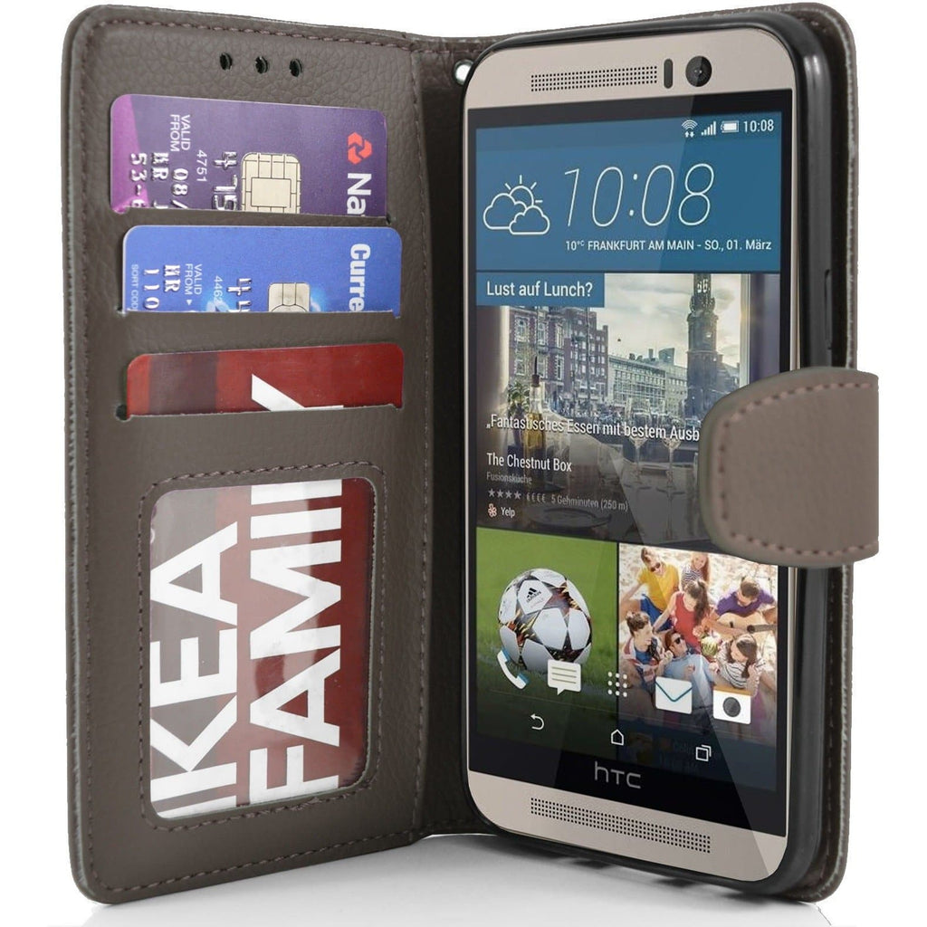 HTC One M9 PU Leather Wallet Case - Brown