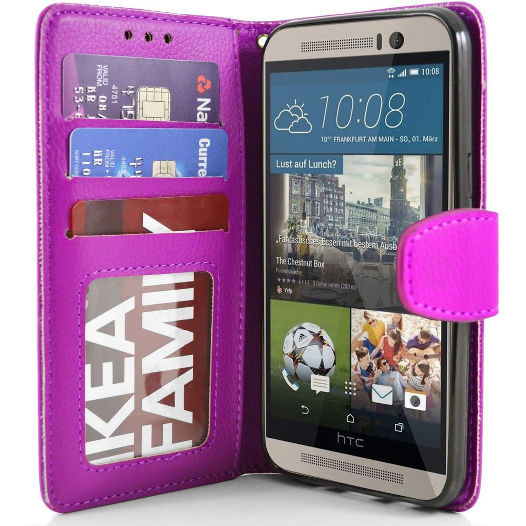 HTC One M9 PU Leather Wallet Case - Pink