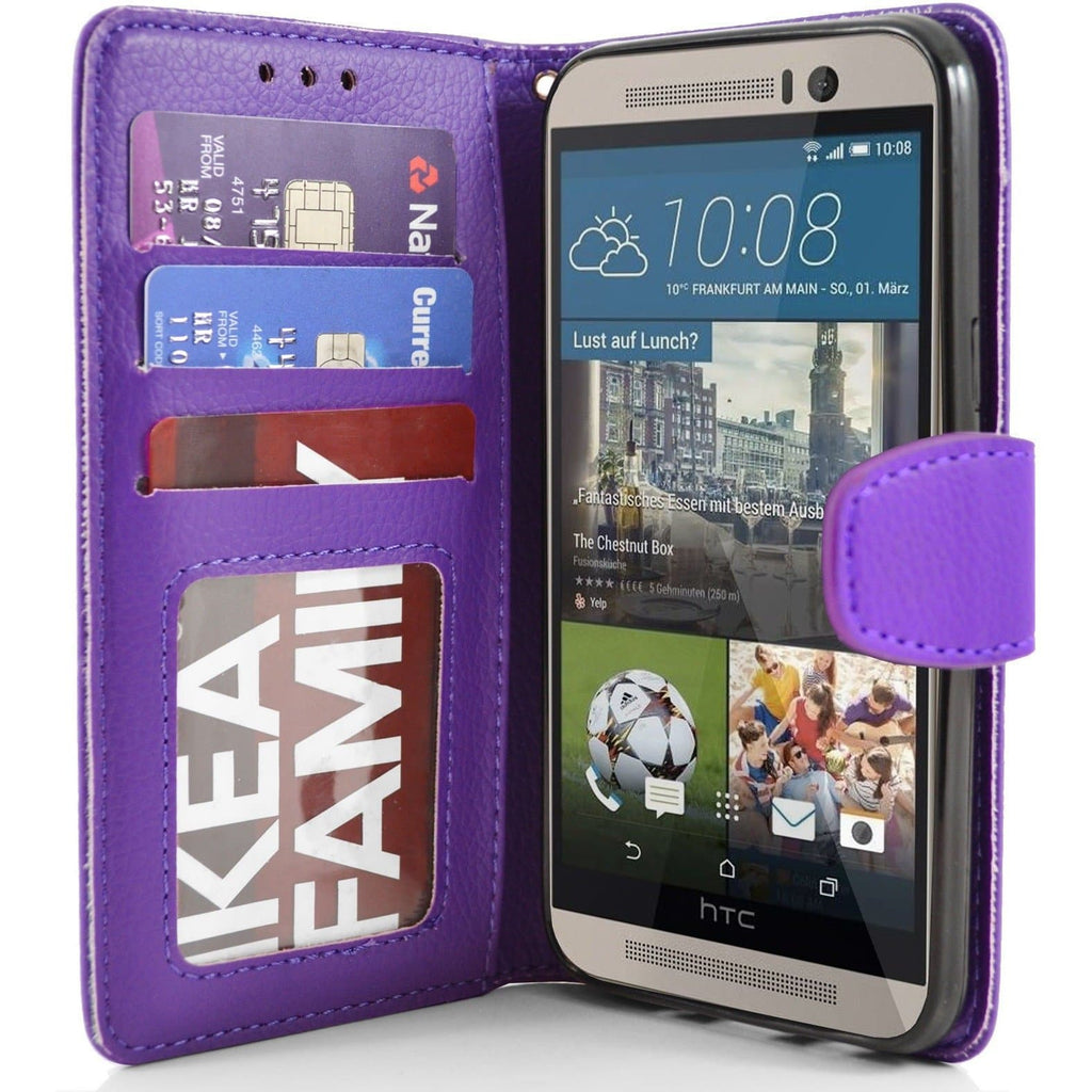 HTC One M9 - PU Leather Wallet Case - Purple
