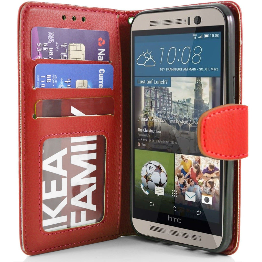 HTC One M9 PU Leather Wallet Case - Red