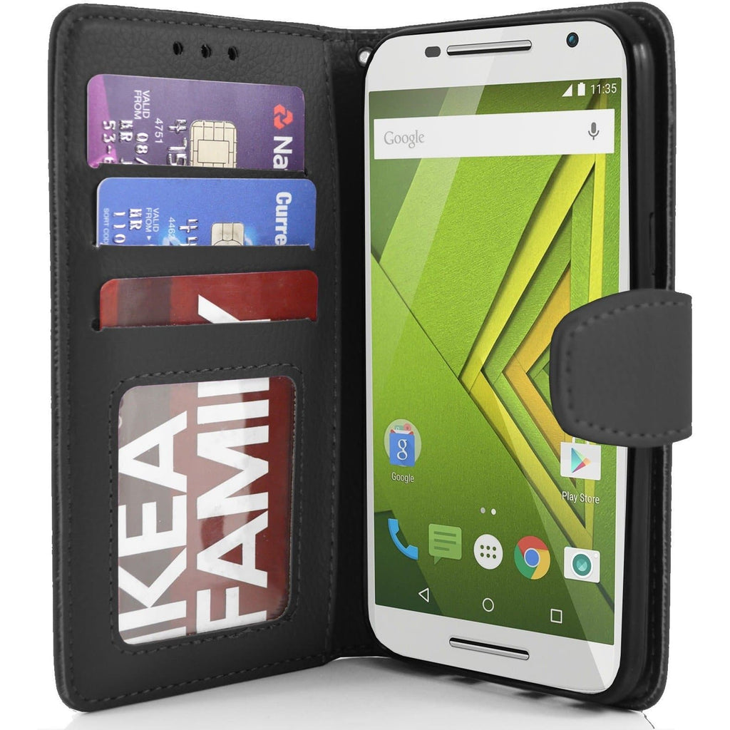 MOTO X Play PU Leather Wallet Case - Black