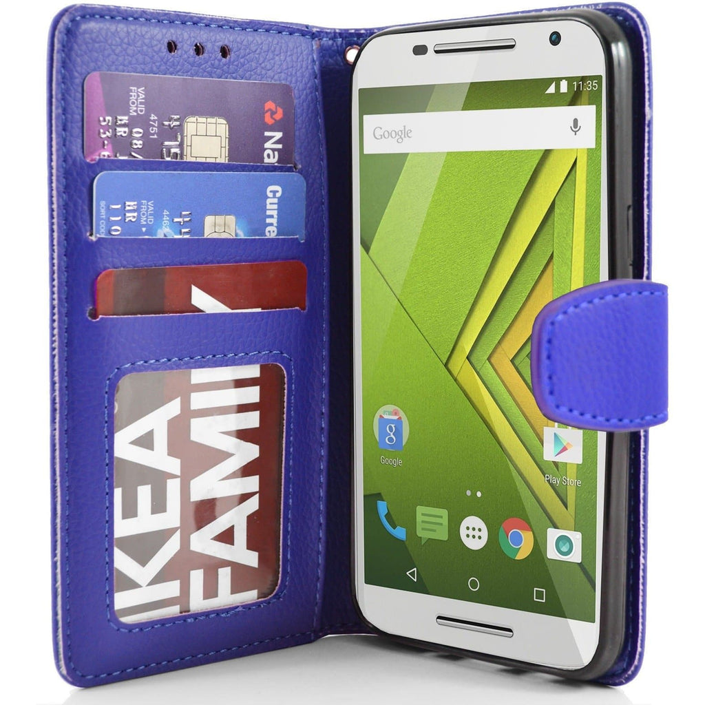 MOTO X Play PU Leather Wallet Case - Blue