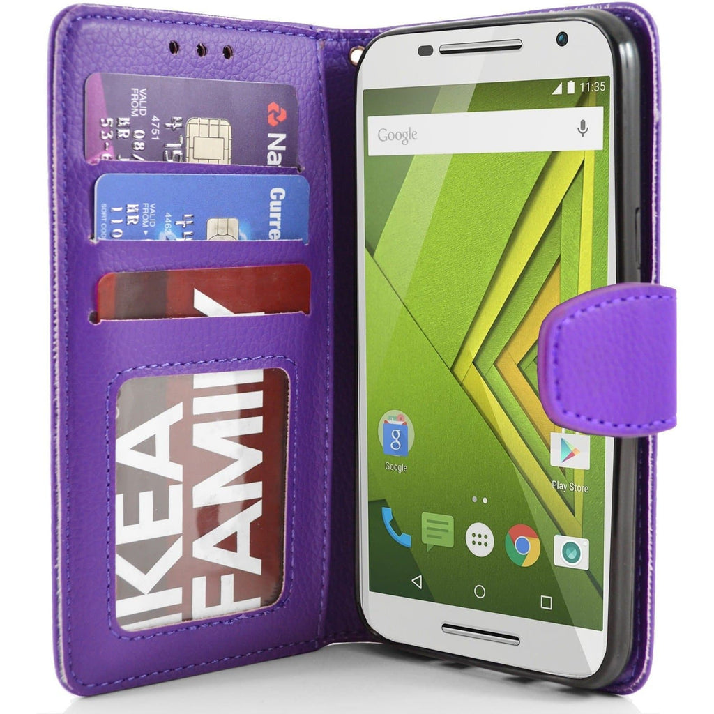 MOTO X Play PU Leather Wallet Case - Purple